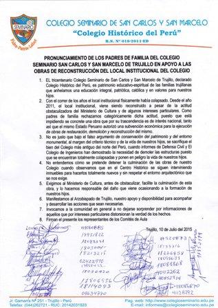 Padres de familia apoyan obras del Colegio Seminario San Carlos y San Marcelo
