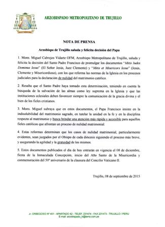 Arzobispo de Trujillo saluda y felicitadecisión del Papa