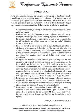 Sodalicio: Comunicado de la Conferencia Episcopal Peruana
