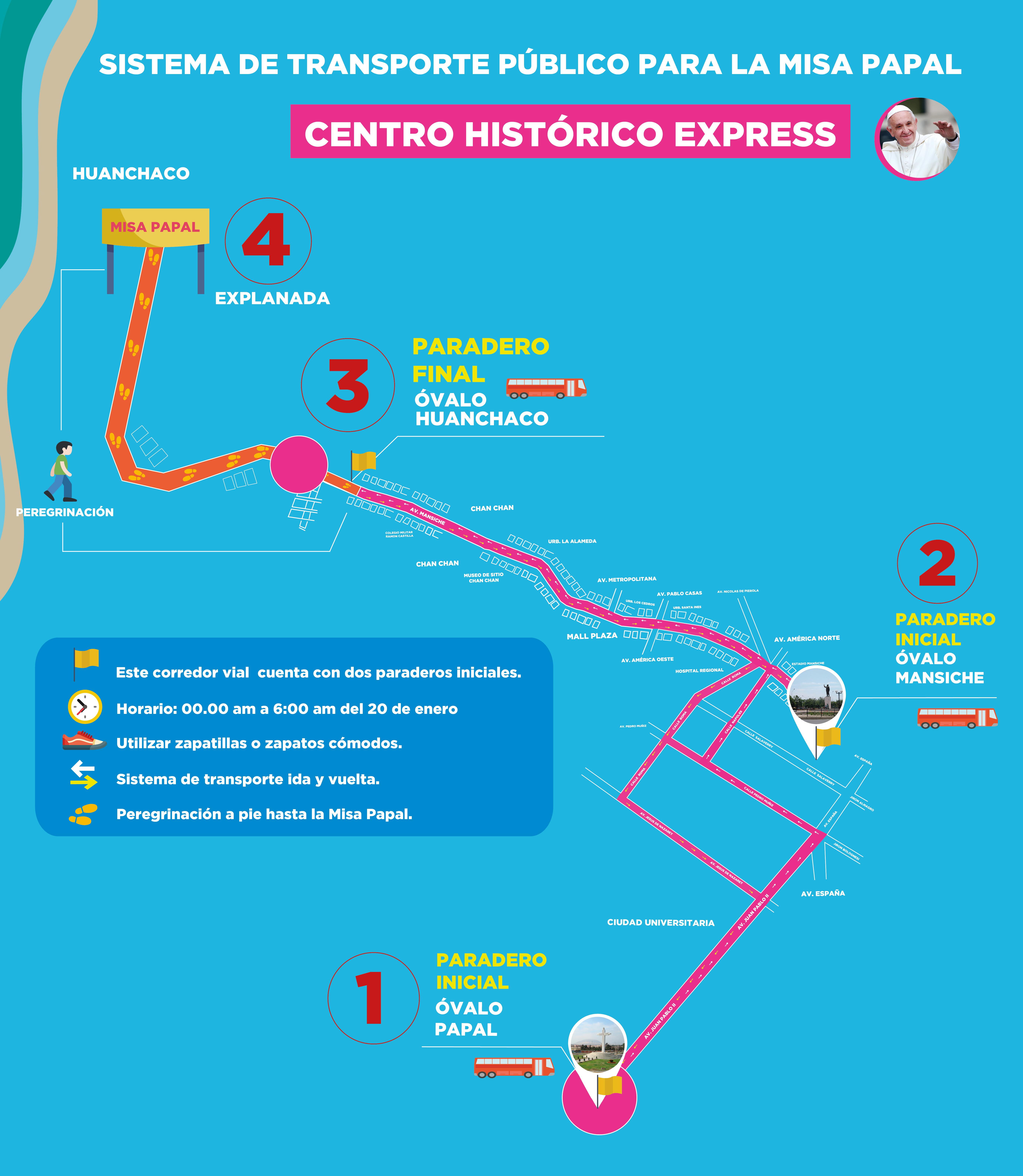 Sepa las horas y cómo llegar a la Misa Papal, en la explanada de Huanchaco