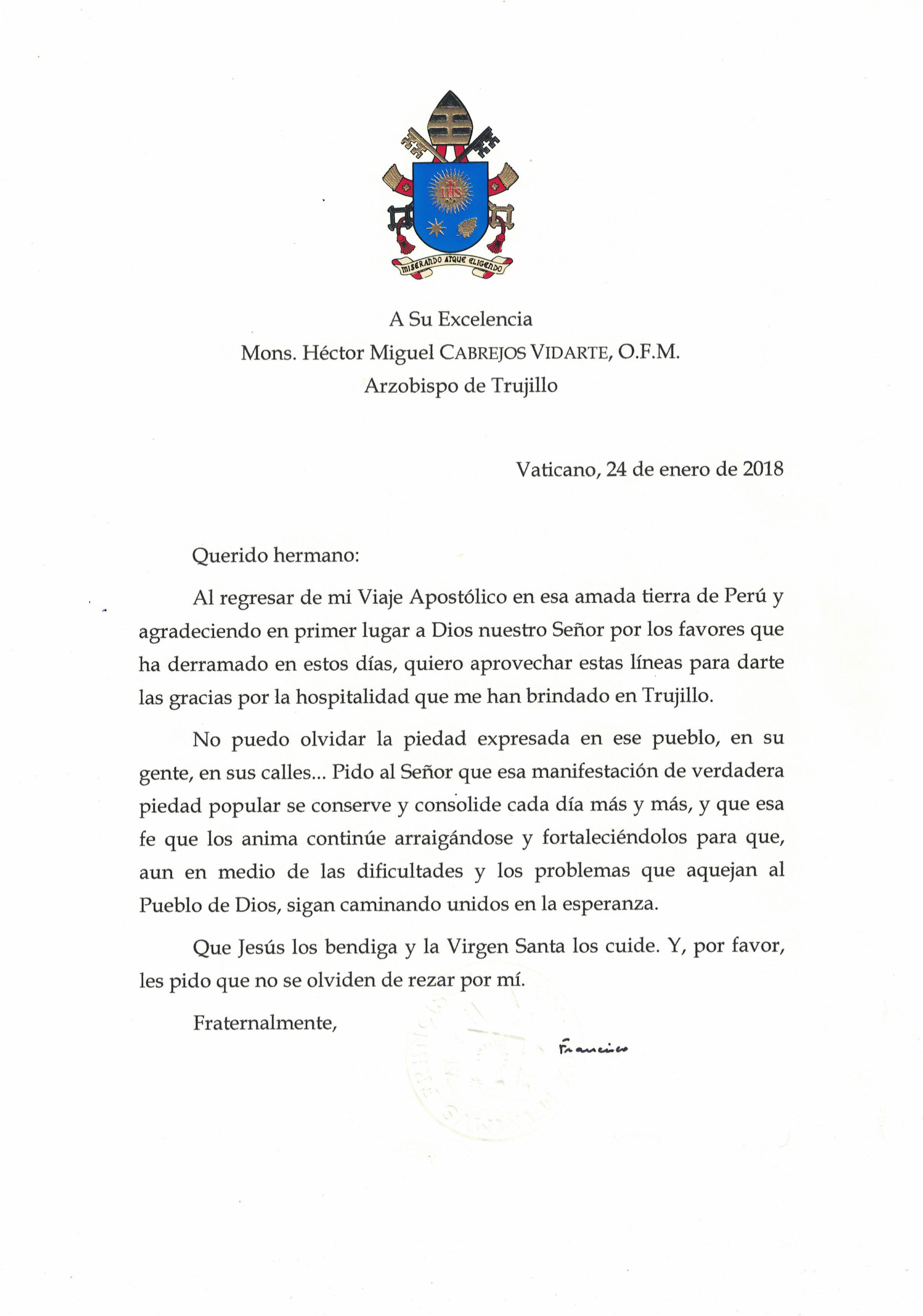 Papa Francisco envía carta de agradecimiento