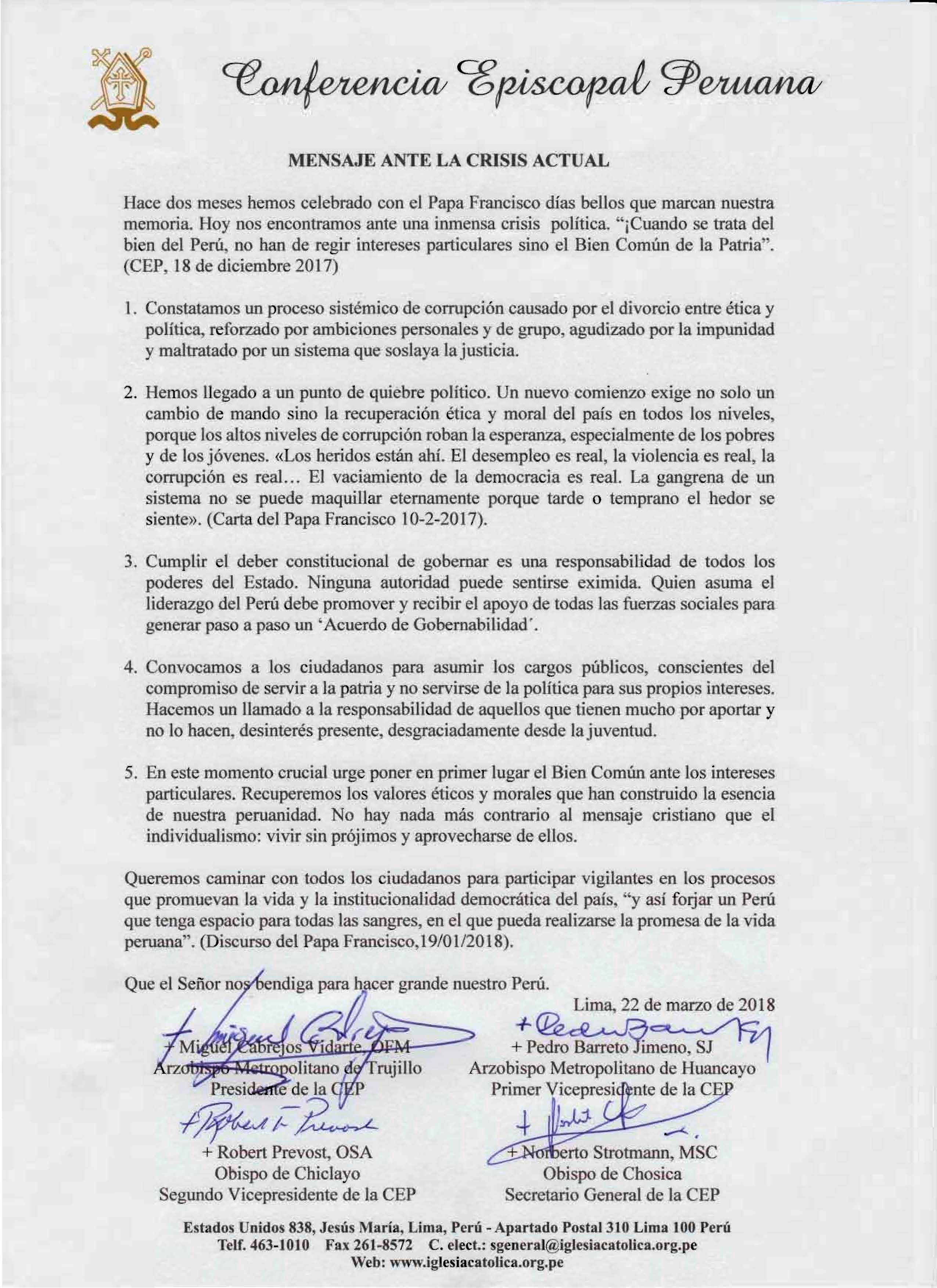 Mensaje de los Obispos del Perú, ante la crisis actual del país.