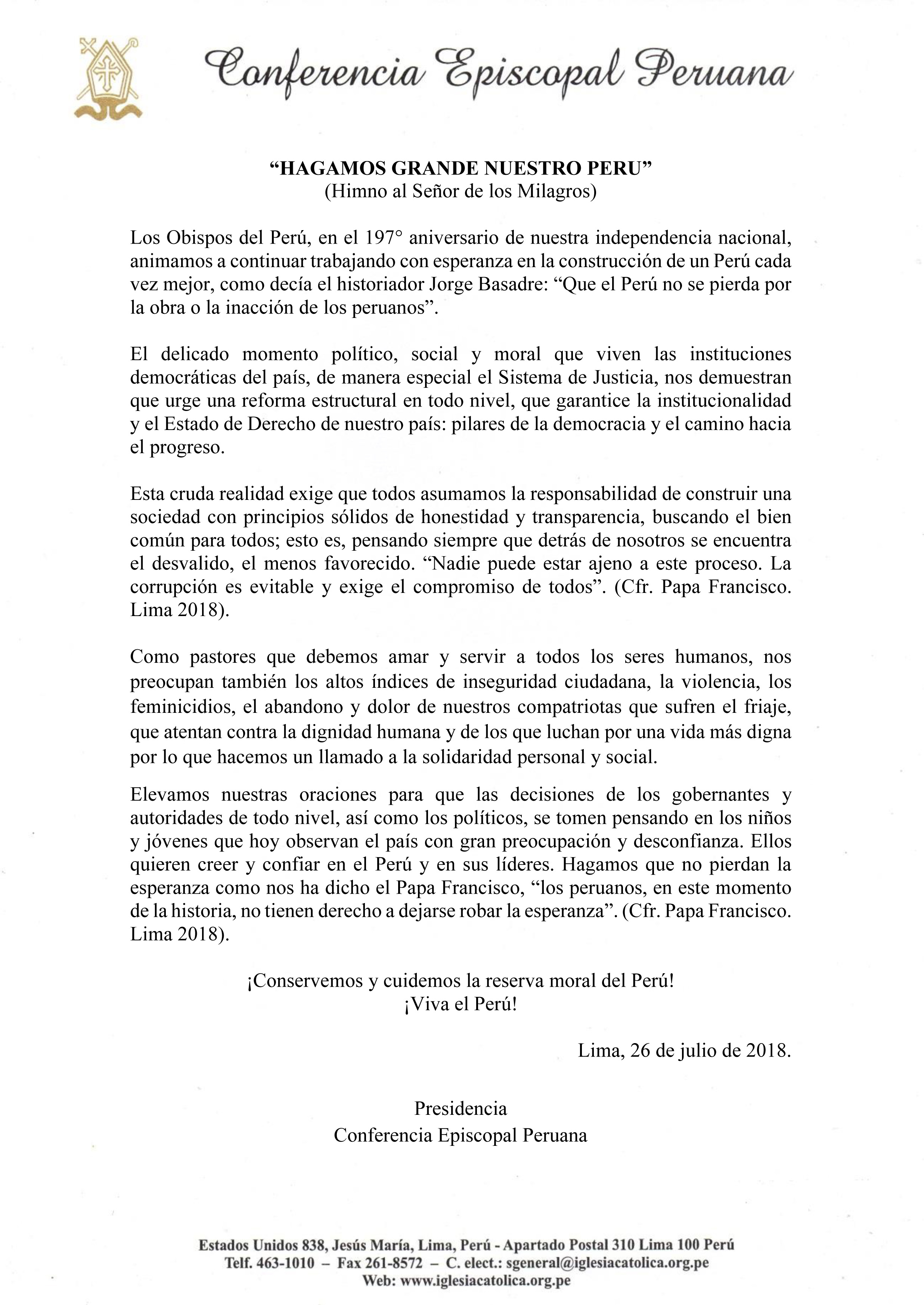Mensaje de Fiestas Patrias 2018: Conferencia Episcopal Peruana