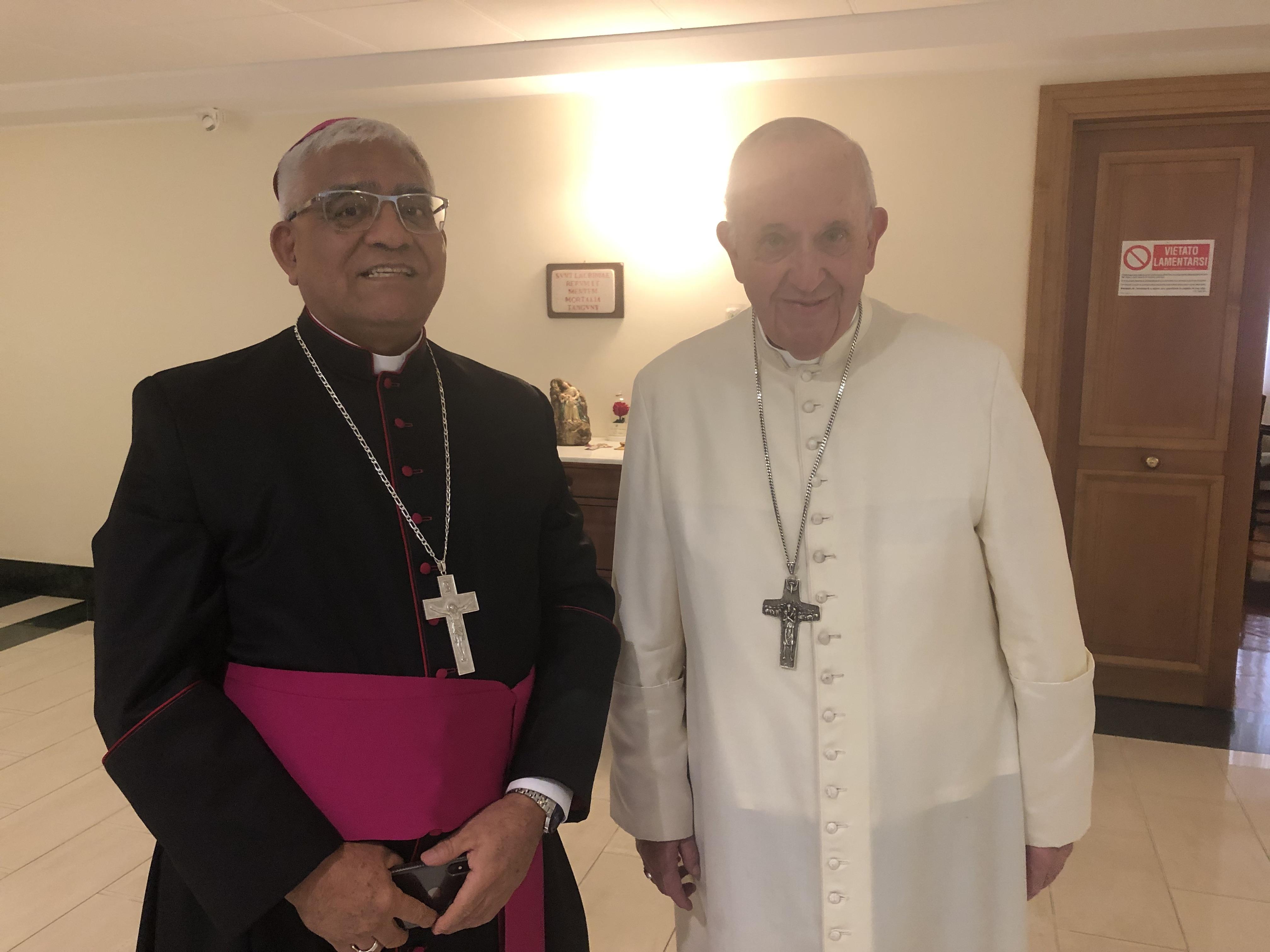 Mons. Miguel Cabrejos se reunió con el Papa Francisco, en Roma