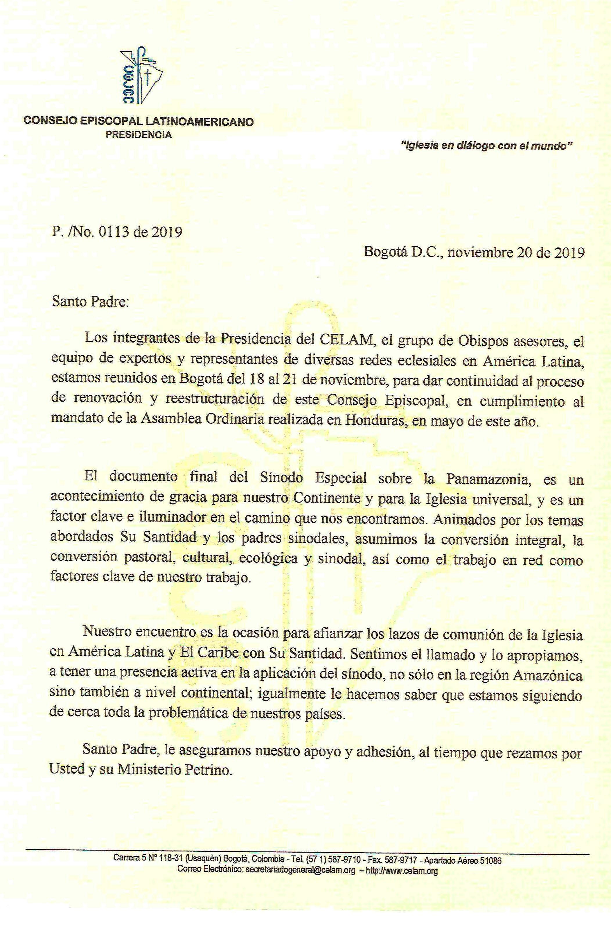 Precidencia del Celam envía carta al Papa Francisco, al término de la reunión del Consejo Episcopal Latinonamericano